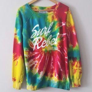 POP SURF Rainbow Tie Dye Surf Rebel Sweatshirt XL
